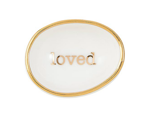 "Gold ""Loved"" Ring Dish"