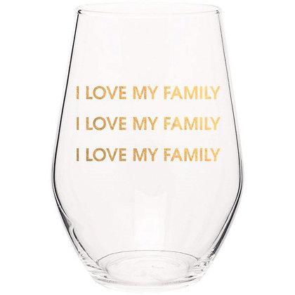 I LOVE MY FAMILY I LOVE MY FAMILY - GOLD FOIL STEMLESS WINE GLASS