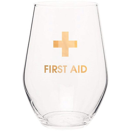 FIRST AID - GOLD FOIL STEMLESS WINE GLASS