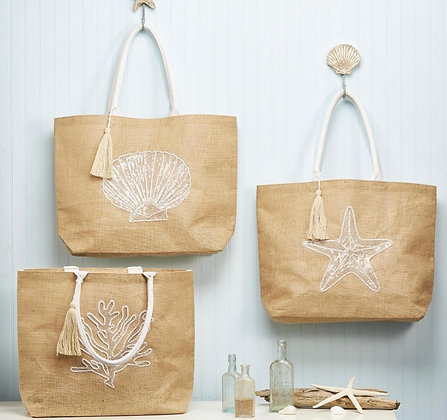 White Beaded Beach Tote