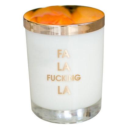 FA LA F-ING LA CANDLE- GOLD FOIL ROCKS GLASS