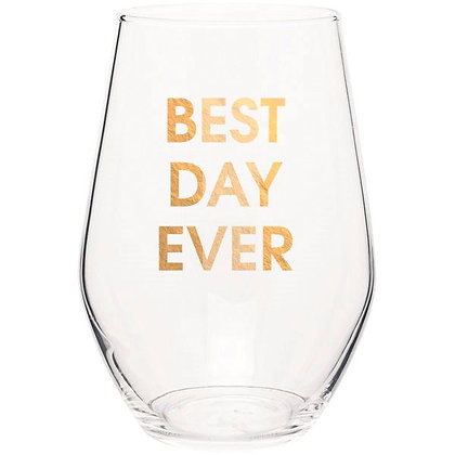 BEST DAY EVER- GOLD FOIL STEMLESS WINE GLASS
