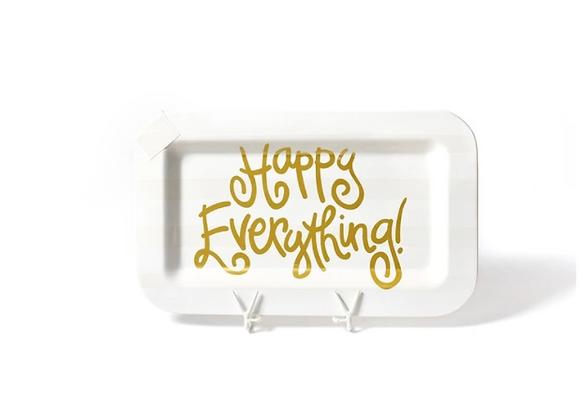 White Stripe Mini Rectangle Happy Everything Platter