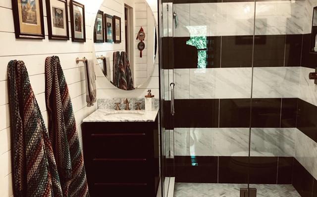 Master Bath w/ Chevron Floors