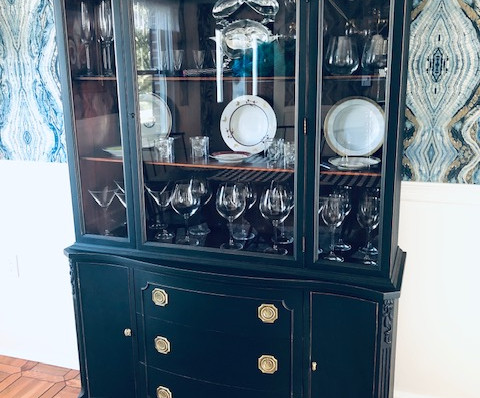 Repainted and Distressed China Cabinet