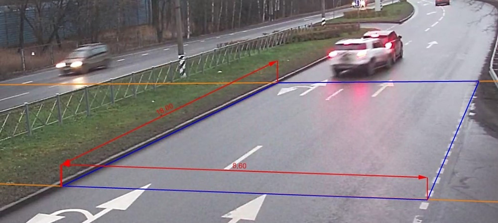Установление средней скорости автомобилей по видеоизображению (DTPExpert)