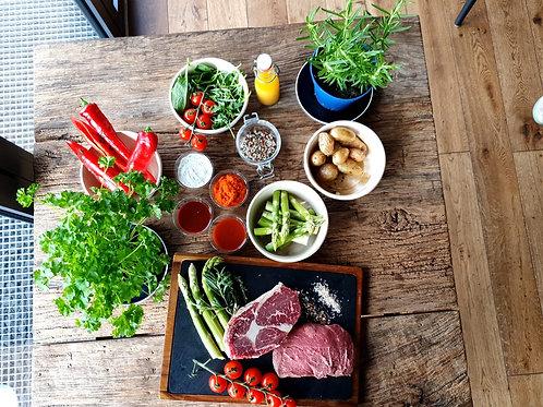 Grillpaket 2 mit Entrecote (Sashi Gold), Steakhüfte, Beilagen & Soßen