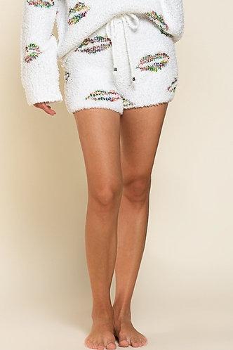 White Rainbow Lips Shorts