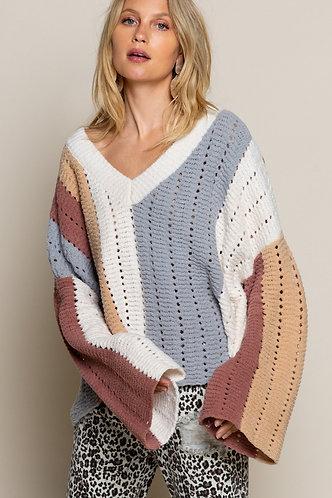 Ivory Stripe Multi Sweater