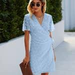 Swiss dot true wrap dress with lining