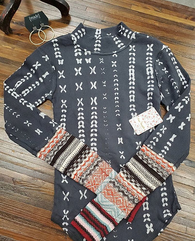 Free People High-Neck Charcoal Pattern Sweater