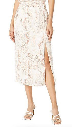 Fairfax Natural Waist Snake Print Satin Midi Skirt