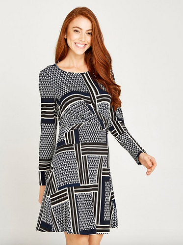Geo Patchwork Knot Front Dress