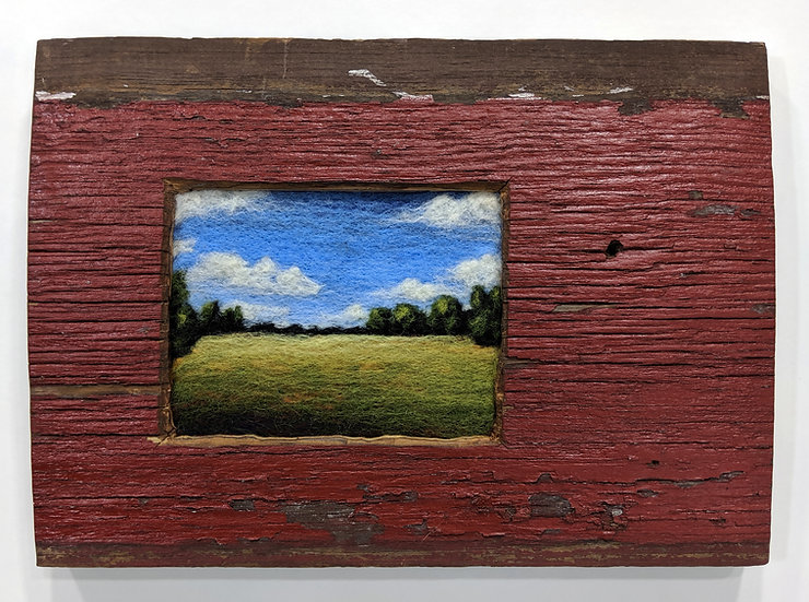 Vibrant Field in Red Barn Wood