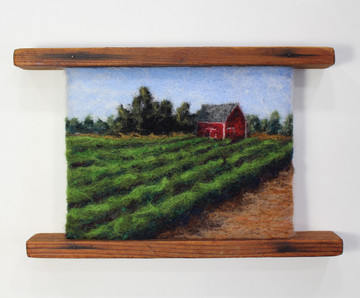 Lush Furrows and a Red Barn