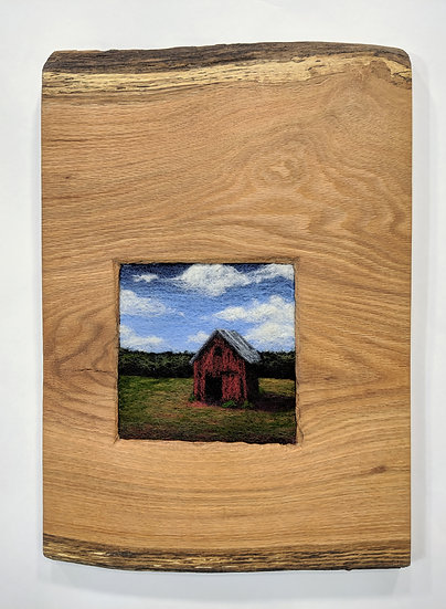 Red Barn in Oak Slab