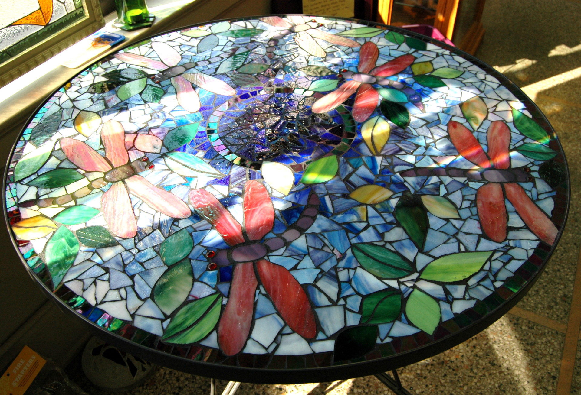 Dragonfly Painted Glass Art