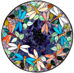 A Mosaic table top picturing a pond with dragonflies