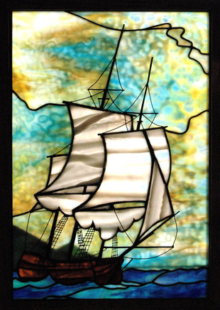 Schooner Ship in Stained Glass