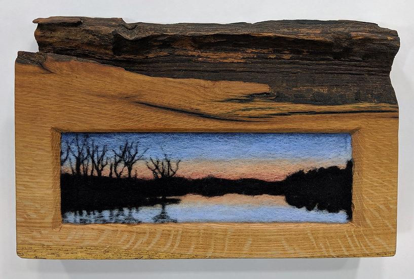 Pale Dusk Reflection in Live-edge Oak