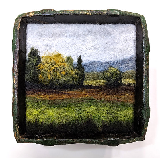 Hazy Green Pasture in Antique Bowl