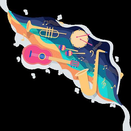 Musical Artwork With A Guitar, Saxophone, Trumpet & Maracas