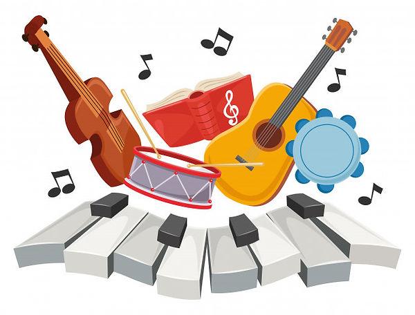 Musical Art With Piano Keys, Violin, Drums, Guitar & Tambourine | Aldersgate Junior Choir