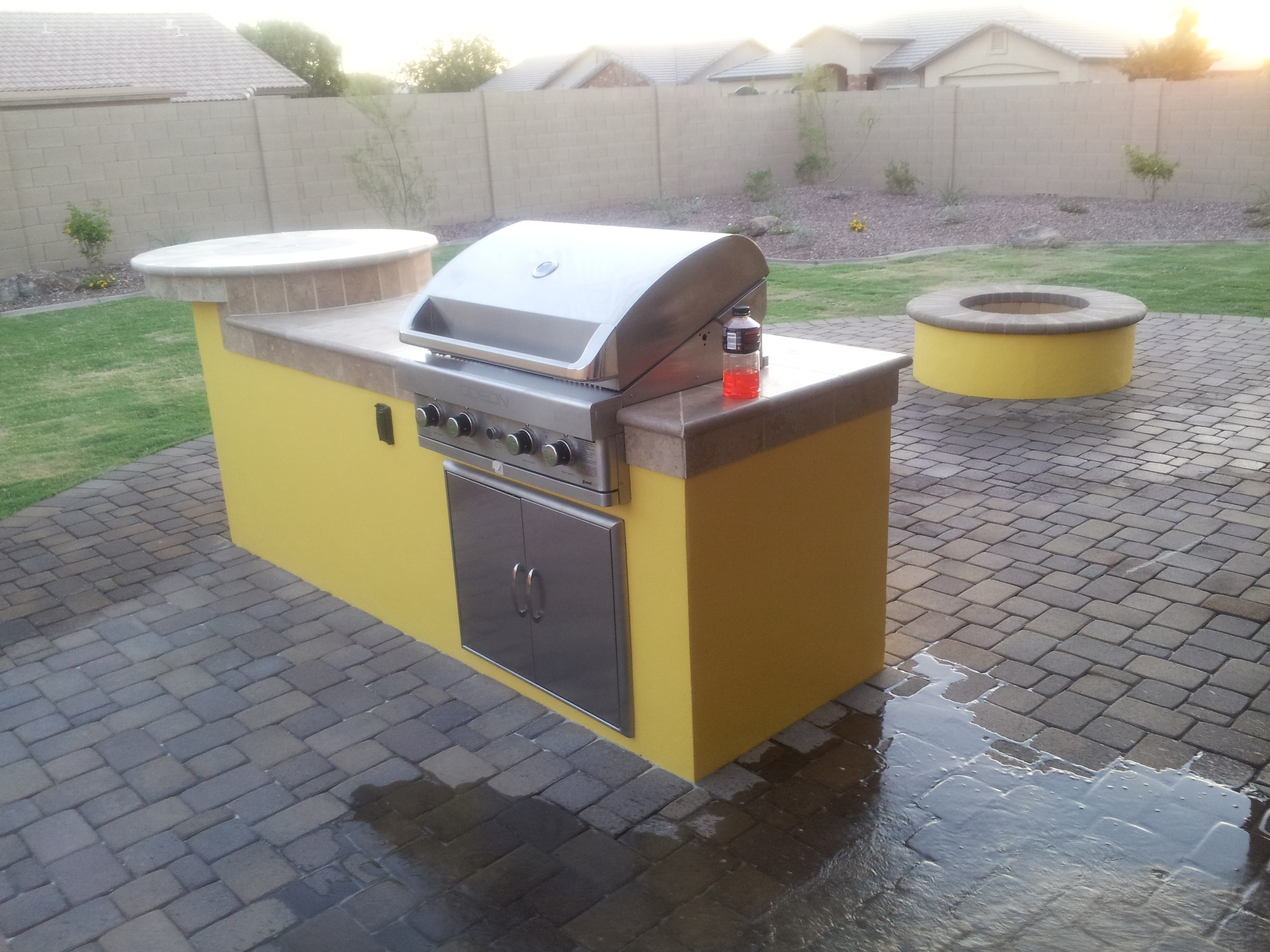 Outdoor BBQ Paver Area