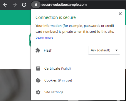 website secure message in google chrome