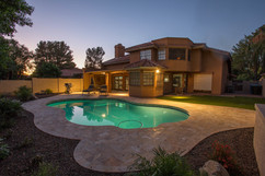 Travertine Pool Deck Lights Chandler AZ.
