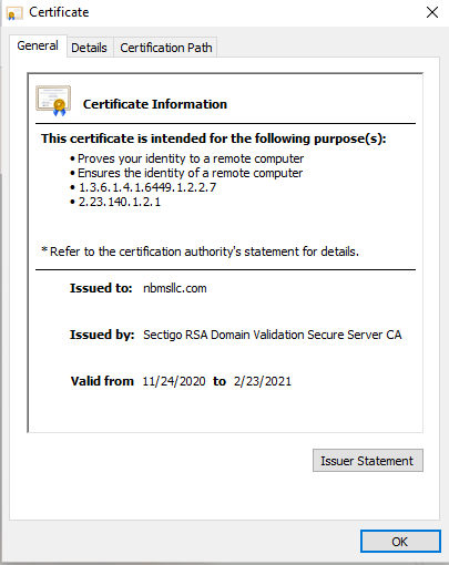 Website Security Certificate Example