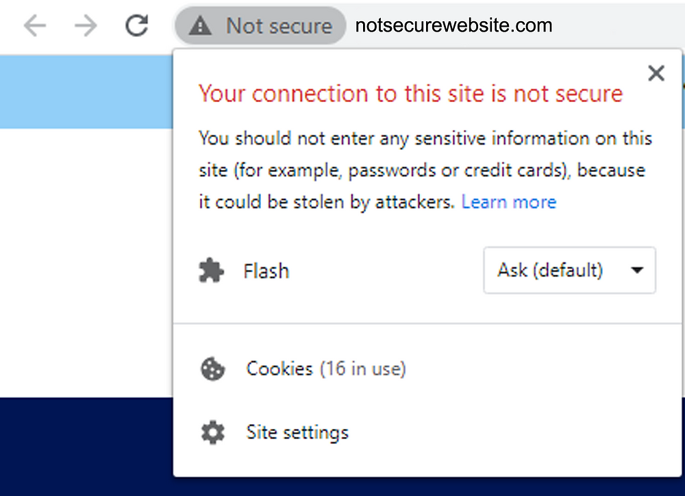 website not secure message in google chrome
