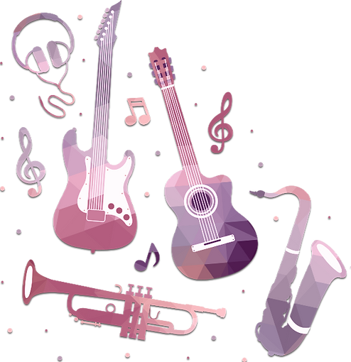 Musical Instruments | Saxophone | Electric & Acoustic Guitar | Trumpet | Music Notes