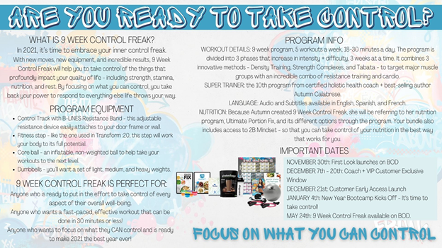 New Program Alert: 9 Week Control Freak