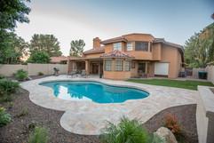 Travertine Pool Deck Area Scottsdale AZ.