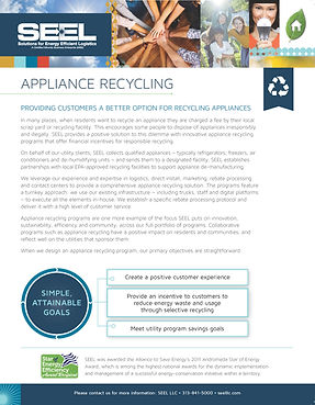 SEEL Appliance Recycling One Pager