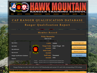 CAP Ranger Qualification Database Now Online!