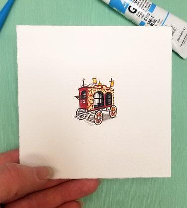 Circus Caravan Wagon. Original Miniature Painting.