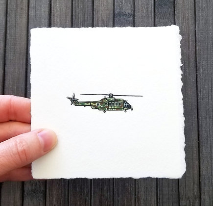 Helicopter. Original Miniature Painting.