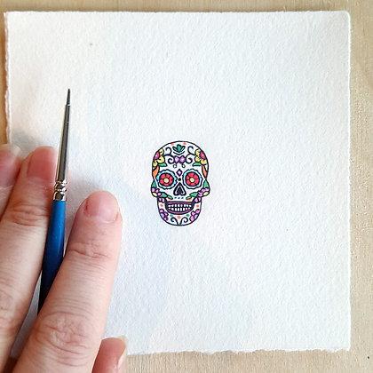 Sugar Skull.  Original Miniature Painting.