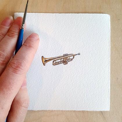 Trumpet.  Original Miniature Painting.