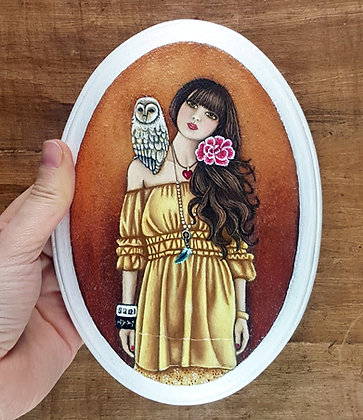 """Girl with Owl Friend.  Original Painting on a 5""""x 5"""" wood panel."""