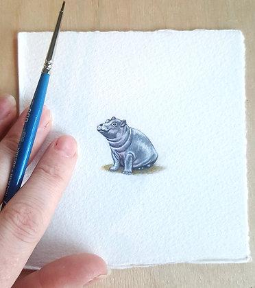 Hippo.  Original Miniature Painting.