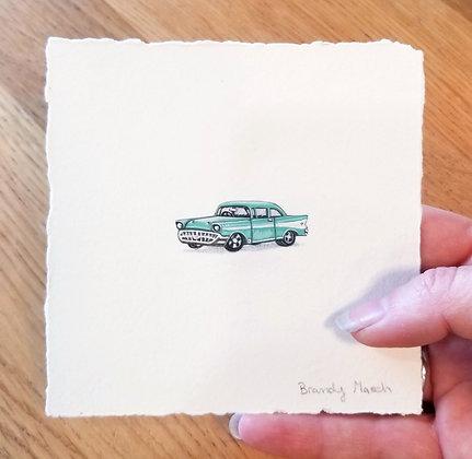 57 Chevy.  Original Miniature Painting.