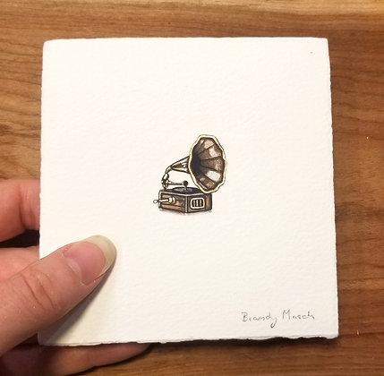 Historic Record Player. Original Miniature Painting.