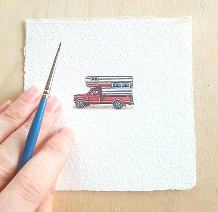 Camper Truck. Original Miniature Painting.