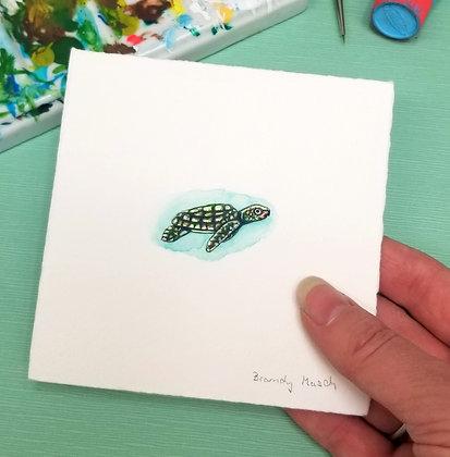 Sea Turtle. Original Miniature Painting.
