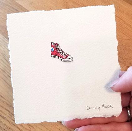 Red Converse.  Original Miniature Painting.