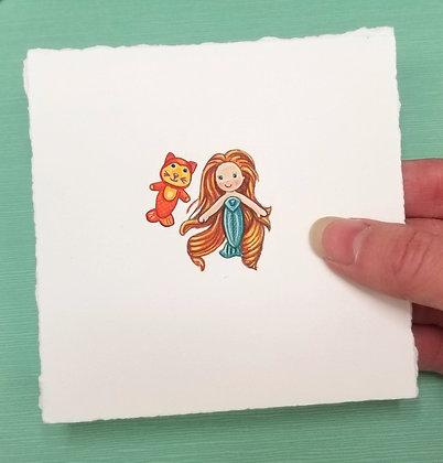 Sea Wees Mermaid. Original Miniature Painting.