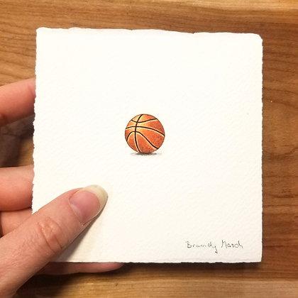 Basketball. Original Miniature Painting.